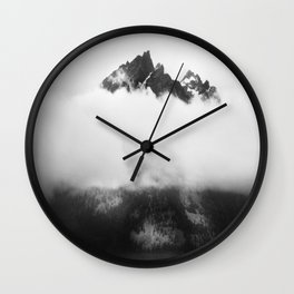 Teton in the clouds Wall Clock