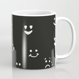 Sad face, happy face, smiley face, eyes heart face, crying face repeated black and white pattern Coffee Mug
