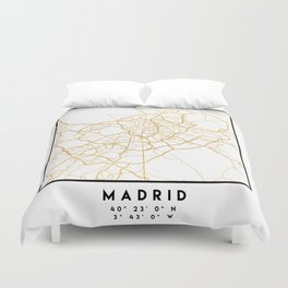 MADRID SPAIN CITY STREET MAP ART Duvet Cover
