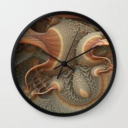 Organic Green Brown Orange Abstract Fractal Wall Clock
