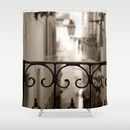 Lisbon street bokeh Shower Curtain