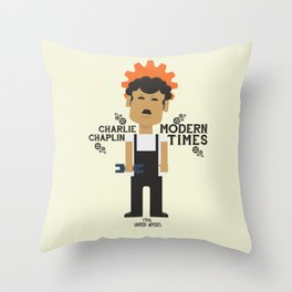 Charlie Chaplin, Modern Times, minimal movie poster Throw Pillow