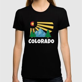 Native Colorado Gifts CO State Flag Sunrise Sunburst White T-shirt