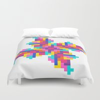 tetris Duvet Covers featuring Tetris Pinwheel by Jessie Prints Stuff