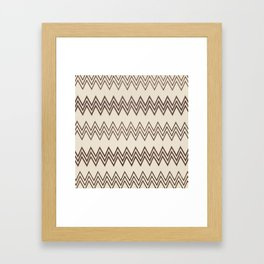 Vintage white brown faux leather geometrical chevron Framed Art Print