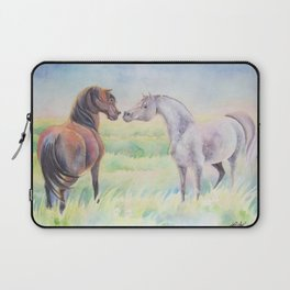 Horse Greeting In Wildflower Meadow Laptop Sleeve