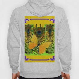 ART NOUVEAU YELLOW BUTTERFLY PEACOCK FEATHERS Hoody