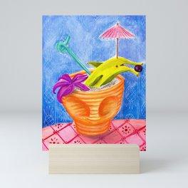 Tiki Drink no.2 with banana dolphin Mini Art Print