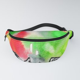Northern Lights and Mountains - Green Palette Fanny Pack