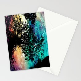 Black Trees Colorful Space Stationery Cards