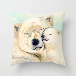 Polar bears, mother and child Throw Pillow
