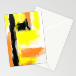 orange yellow and black painting abstract with white background Stationery Cards