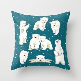 Cute Polar Bear Cubs Throw Pillow