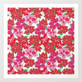 Red and Pink Poinsettias Art Print