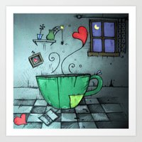 cup Art Prints featuring cup by Maria Sciarnamei