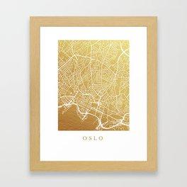 Gold Oslo map Framed Art Print