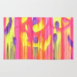 Neon Rainbow Swirls Abstract Rug