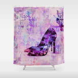 High heel female shoe watercolor art Shower Curtain