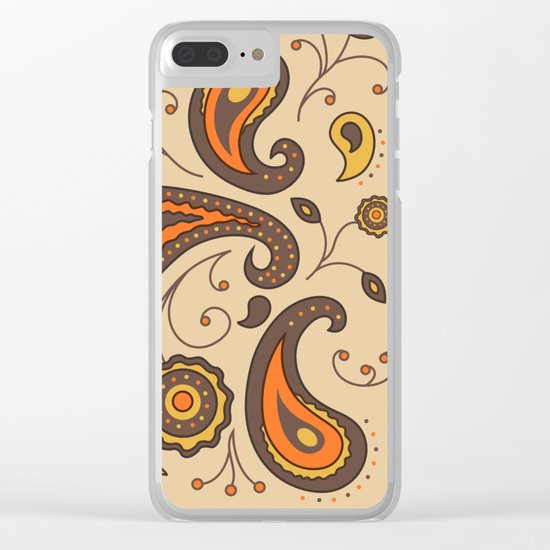 Paisley Brown Pattern Clear iPhone Case