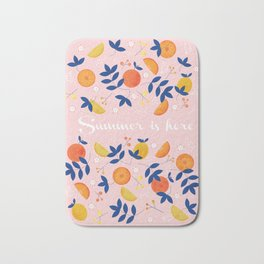 Summer is here - fruit and typography Bath Mat