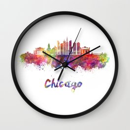 Chicago V2 skyline in watercolor Wall Clock