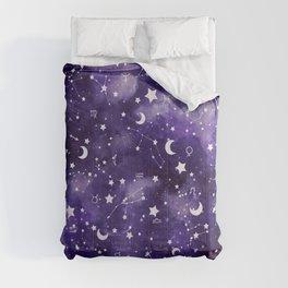 Zodiac Watercolor Ultraviolet Comforters
