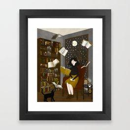floating books Framed Art Print