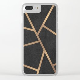 Dark Grey and Gold Textured Fragments - Geometric Design Clear iPhone Case