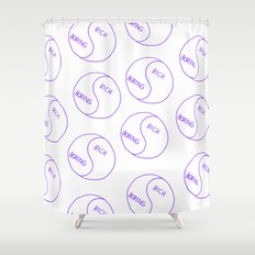 Rich / Boring (White) Shower Curtain