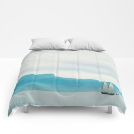 Modern Minimalist Landscape Ocean Pastel Blue Mountains With White Sail Boat Comforters