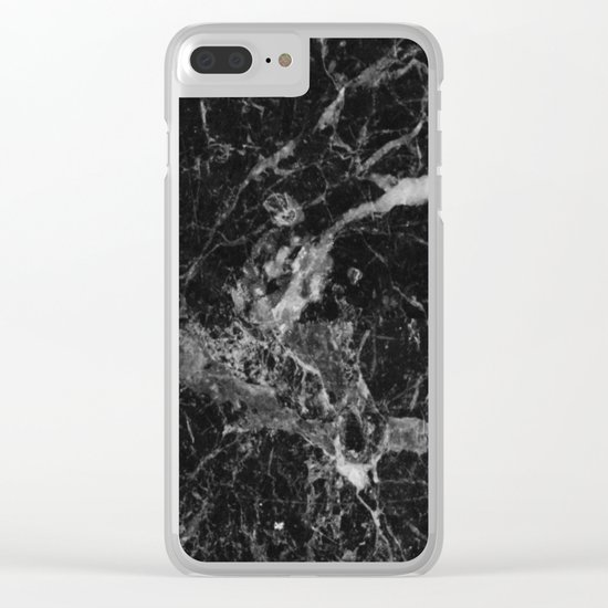 Black and Gray Marble Pattern Clear iPhone Case