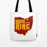 lebron Tote Bags featuring Home of the King (White) by Denise Zavagno