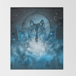 wolf in blue Throw Blanket