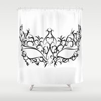 mask Shower Curtains featuring Mask by Jessica Slater Design & Illustration