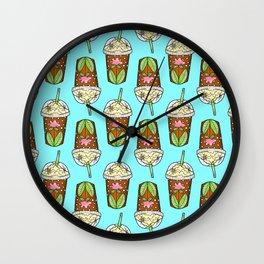 Cute Iced Coffee Cups Wall Clock