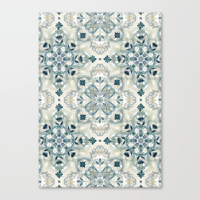 Forest Green & Neutral Taupe Detailed Lace Doodle Pattern Canvas Print