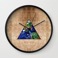 all seeing eye Wall Clocks featuring All Seeing Eye by Spooky Dooky