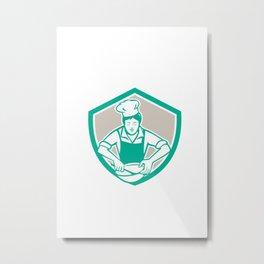 Female Chef Mixing Bowl Shield Retro Metal Print