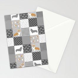 Corgi Patchwork Print - grey, dog, buffalo plaid, plaid, mens corgi dog Stationery Cards