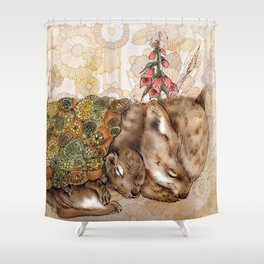 Knitted Hibernation  Shower Curtain
