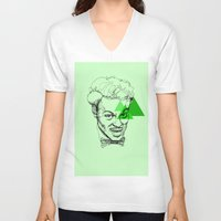 chuck V-neck T-shirts featuring Chuck Berry by mr.defeo