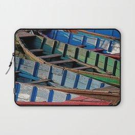 COLORFUL CANOES ALONG PHEWA LAKE SHORELINE POKHARA NEPAL Laptop Sleeve