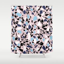 Terrazzo Spot Blues on Blush Shower Curtain