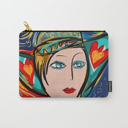 Pop Girl Art Deco with Hat and hearts Carry-All Pouch