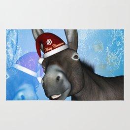 Funny christmas donkey Rug