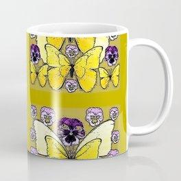 INK DRAWING PURPLE PANSY FLOWERS & YELLOW BUTTERFLIES Coffee Mug