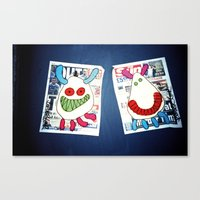 newspaper Canvas Prints featuring Newspaper graffiti by very giorgious