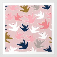 sloths Art Prints featuring Pattern with sloths by Darish