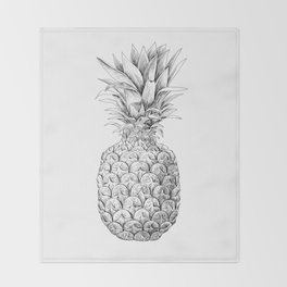 Pineapple, tropical fruit illustration Throw Blanket