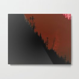 Into The Woods - Dark Forest - Red Metal Print